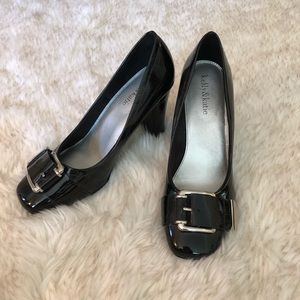 Kelly and Katie Black Patent Leather Heels